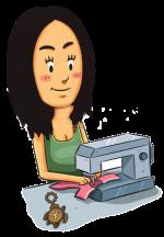 27886325-布を縫製女の子の漫画イラスト