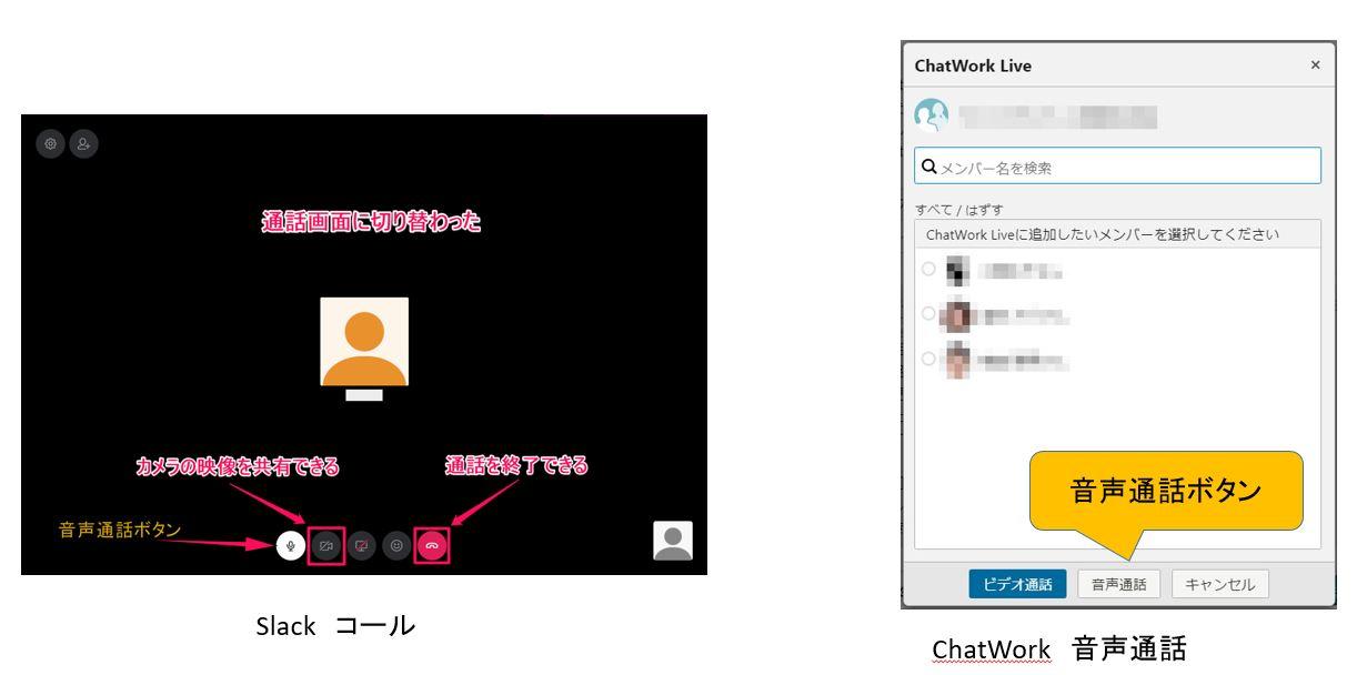チャットツール「Chatwork」「Slack」音声通話、ビデオ通話 機能